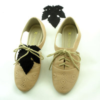 Black Suede Leaf Shoe Lace Covers for Lace Up Shoes and Sneakers