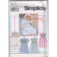 Simplicity 9070 Oliver Goodin sewing pattern for girls smocked party, special occasion dress size 2 3 4 UNCUT
