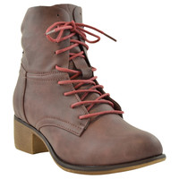 Womens Ankle Boots Faux Leather Lace Up Western Block Heel Shoes WINE