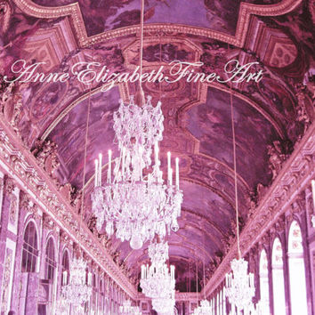 Pink Paris- France Versailles -Palace- Hall of Mirrors- 8 x 10- Fine Art- Fashion Photograph- Crystal Chandelier-Pastel Cotton Candy-Nursery