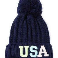 """Navy Neon """"USA"""" Patched Pom Top Beanie"""