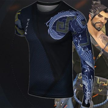 High quality cosplay daily wear costume  OW fans Hanzo cosplay with tattoo arm  HANZO concept t shirt ac359