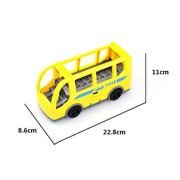 Bus Model Vehicle Set Car Bricks Big Particles Building Blocks transport accessory Kids girl Toys Compatible with Duplo DIY Gift