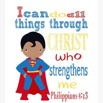 African American Superman Superhero Christian Nursery Decor Print - I Can Do All Things - Philippians 4:13