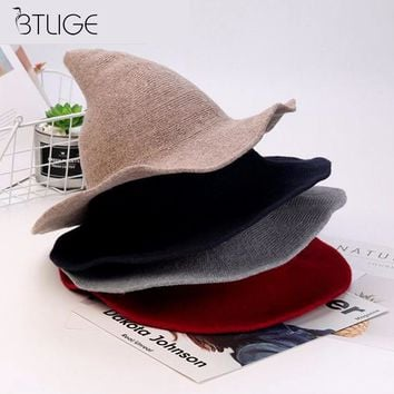 Witch Hat  Knitted Wool Cap Knitting Fisherman Hat Korean Autumn Winter Female Witch Pointed Bucket for Halloween Party Hat
