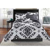 Classic Noir Bed In A Bag Bedding Set New Queen Black White Bedroom