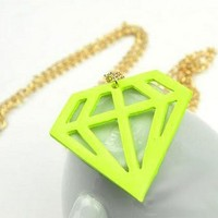 Yellow Color Diamond Pattern Necklace