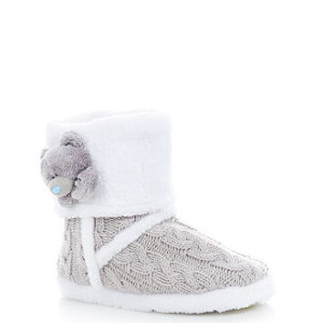Me To You Grey Bear Knitted Slipper Boots