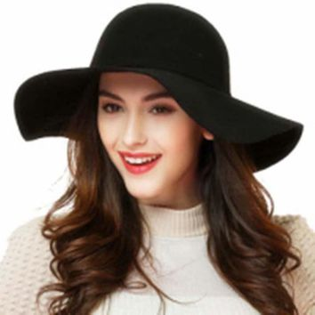 BONJEAN Women's Cotton Bowler Jazz Top Felt Wide Brim Floppy Beach Hat