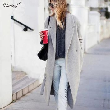 Women's Elegant Long Style Warm Wool Blends Oversize Solid Coats Cashmere Trench Coats Ladies Casual X-long Grey Woolen Outwear