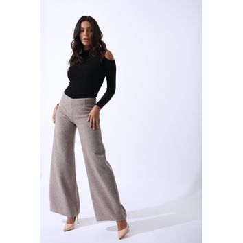 White Regular Fit Wool Wide Leg Long Pant