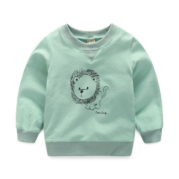 toddler boy t shirts cartoon lion long sleeve baby t-shirts for boys clothes  autumn cute animal boy kids t shirt outerwear