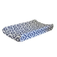 Arizona in Navy Crib Bedding | White and Navy Baby Changing Pad Cover