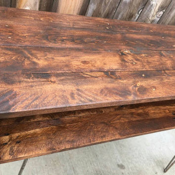Honey, hallway table, entrance way table , end table  , reclaimed wood, pallet wood, mid century modern! Sofa table