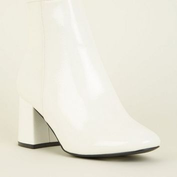 Wide Fit White Patent Ankle Boots | New Look