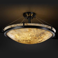 Justice Design Group ALR-9681-35-MBLK-LED-3000 Alabaster Rocks! 18-Inch Round 3000 Lumen LED Semi-Flush Mount LED Pendant with Ring