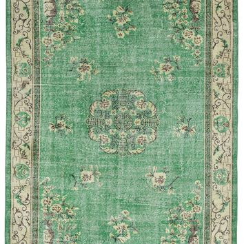 GREEN OVERDYED VINTAGE RUG 6'11'' X 10'1'' FT 212 X 307 CM
