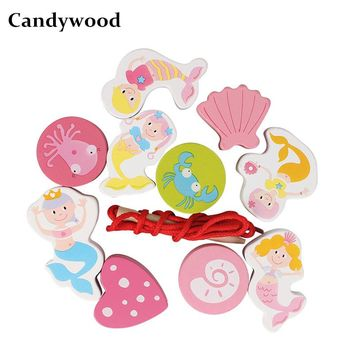 Candywood Wooden toys Cartoon Mermaid Beaded Kids Hand-eye Coordination Training Educational Toys Baby DIY Bead Girl Games