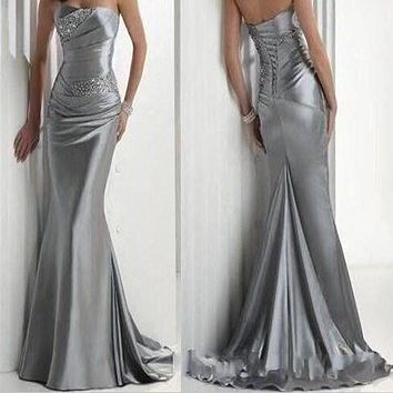 Cocktail Dresses 2017 Hot Sexy Cocktail Gowns Formal Dress Strapless Beaded Silver Elastic Satin Mermaid Prom Dresses