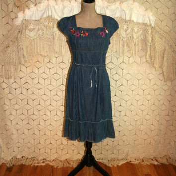 Denim Peasant Dress Country Girl Dress Embroidered Cap Sleeves Daisy Duke Dress Western Boho Dress Square Neck Small Medium Womens Clothing
