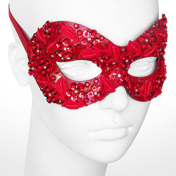 Sequined Red Masquerade Mask With Rhinestones And Embroidery - Embellished Venetian Style Prom Mask