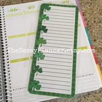 FREE SHIPPING St. Patrick's Day Shamrock Laminated Dashboard Insert for Erin Condren Life Planner - clips right into coils!