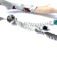 Gypsy Feather Triple Chain Belly Button Ring Made With Swarovski Crystal Elements, Body Piercing