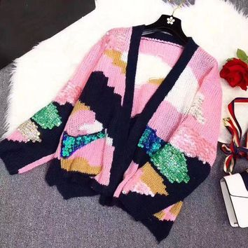 ESBON Miu Miu' Women Fashion Sequin Multicolor Long Sleeve Loose V-Neck Knit Cardigan Sweater Coat