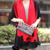 Gradient Color Collarless Half Sleeve Knitted Cardigan
