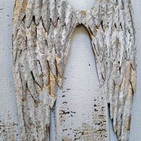 White metal angel wings wall sculpture shabby chic distressed with gold and silver cottage home decor Anita Spero