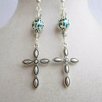 Silver Cross & Teal Glass Pearl with Filigree Swirl Details Long Elegant Earrings