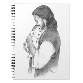 Jesus Cuddling Baby with Bible Verse 1 Peter 2:2 Spiral Note Books