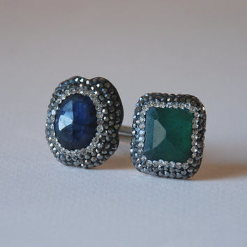 Sapphire Ring Emerald Ring Swarovski Crystal Rings Sterling Silver Adjustable Sparkly Ring