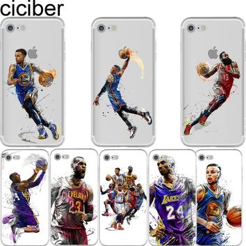 hot sale nba basketball soft silicon transparent case  number 2