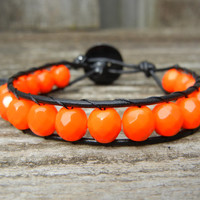 Beaded Leather Single Wrap Bracelet with Tangerine Orange Czech Glass Beads on Black Leather for Halloween Fall Bracelet