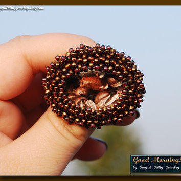 Good Morning, handmade brooch, bead embroidery, brooch jewelry, coffee beaded brooch