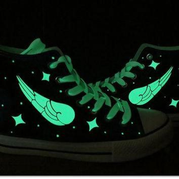 VLXZRBC EXO Harajuku Galaxy luminous wings sneakers,EXO shoes,galaxy vans shoes