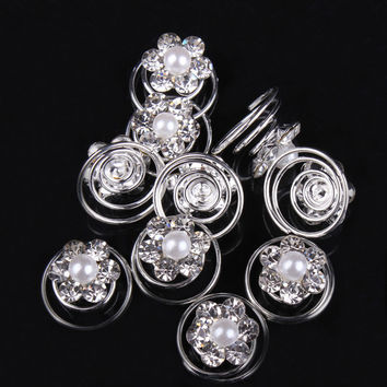 12pcs Hairpins Rhinestone Flower Swirl Spiral Wedding Twist Coils Hair Spin Pins Rhinestone Women Hair Jewelry Girl Accessories