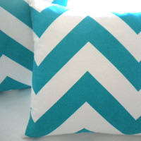 Pillow cover, Turquoise wide chevron decorative cover 18""