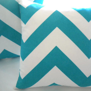 """Pillow cover, Turquoise wide chevron decorative cover 18"""""""