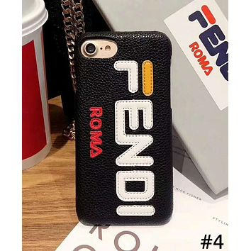 Fendi Tide brand leather hard shell iPhoneXR mobile phone case cover #4