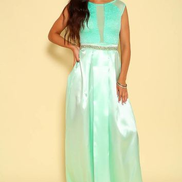 Sexy Mint Satin Embellished Formal Maxi Dress