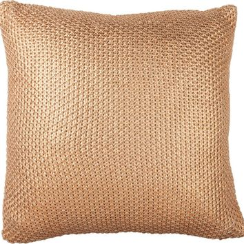 Copper Foil Pillow in Hand Knit Cotton with Soft Metallic Coating
