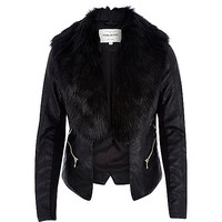 River Island Womens Black leather-look faux fur jacket