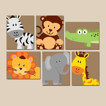 SAFARI Animal Wall Art, Animal Nursery Decor, Zoo Jungle Theme, Baby Boy Nursery Decor, Boy Bedroom Wall Decor, CANVAS or Prints Set of 6