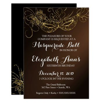 Masquerade Ball Party Invitation 5x7