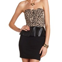 PU Peplum Body-Con Dress
