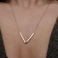 Two gold skinny bar necklace - Personalized gold bar necklace