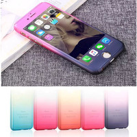 360 Degree Gradient Color Macaron hard PC phone case for iphone 6 6s 6Plus 6sPlus cover case back with Tempered Glass Screen