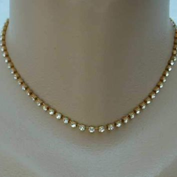 Copper Plated Rhinestone Choker Necklace Vintage Jewelry